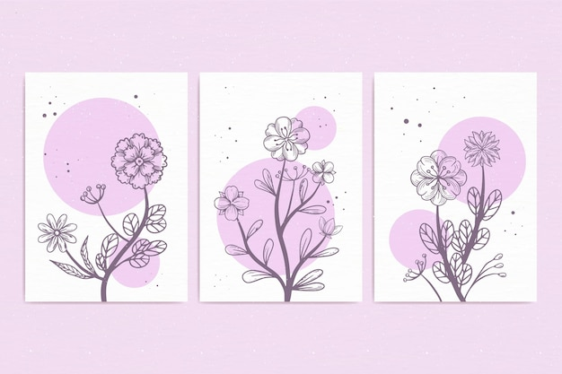 手描きの水彩花カードコレクション