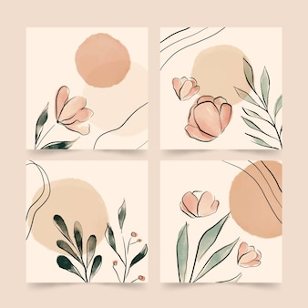 Hand painted watercolor floral cards collection