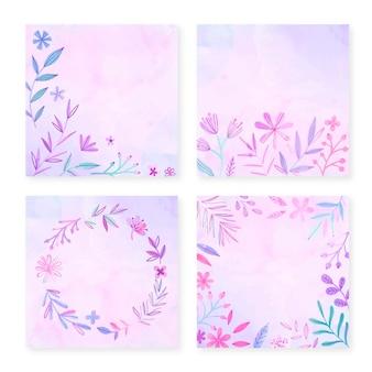 손으로 그린 수채화 꽃 카드 컬렉션
