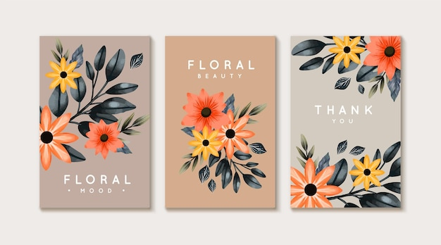 Коллекция акварельных цветочных открыток с ручной росписью