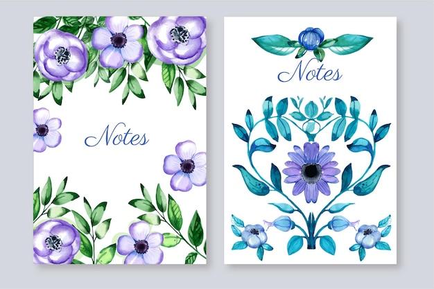 Set di copertine floreali ad acquerello dipinto a mano