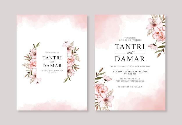 ウェディングカードの招待状のテンプレートの手描き水彩花