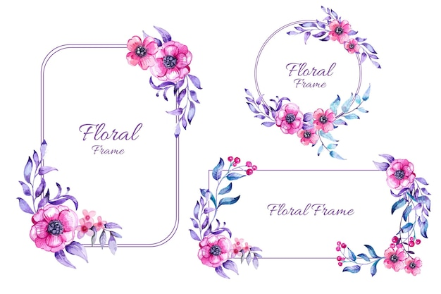 Hand painted watercolor floral frame collection