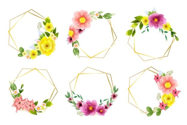 손으로 그린 수채화 꽃 프레임 컬렉션