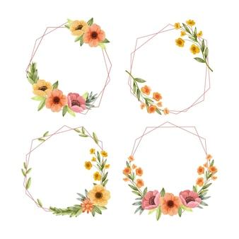 손으로 그린 수채화 꽃 프레임 컬렉션 무료 벡터