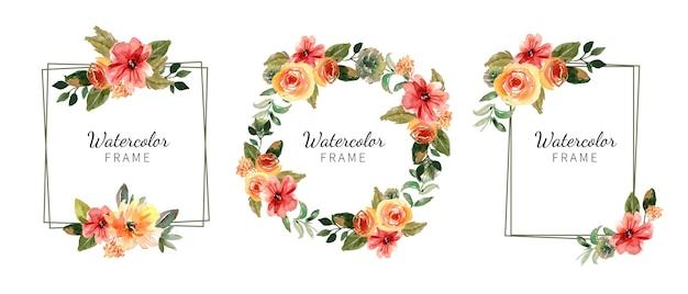 手描きの水彩花フレームコレクション