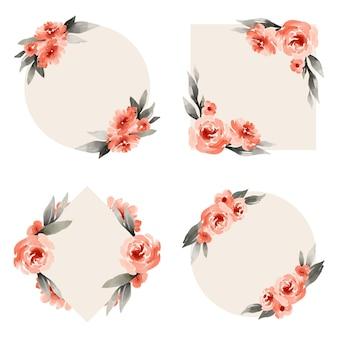 Set cornice floreale dell'acquerello dipinto a mano