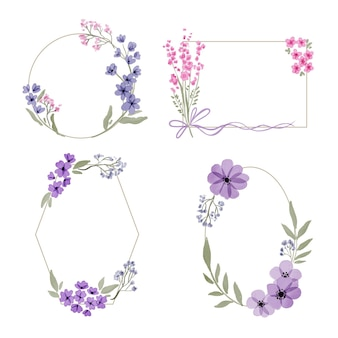 Hand painted watercolor floral frame set