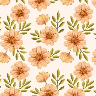 손으로 복숭아 톤의 수채화 꽃 패턴 디자인을 그린
