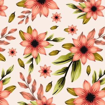 桃色の手描き水彩花柄デザイン