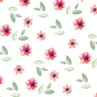 桃の色調で手描きの水彩花柄