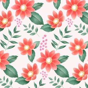 桃色の手描き水彩花柄