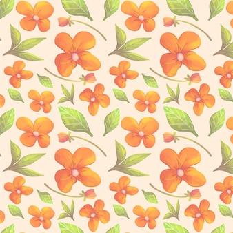 桃色の手描きの水彩花柄