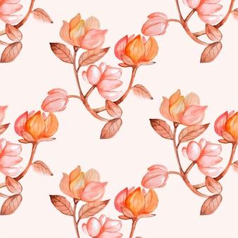 손으로 복숭아 톤의 수채화 꽃 패턴을 그린 무료 벡터