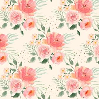 손으로 복숭아 톤의 수채화 꽃 패턴을 그린