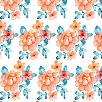 Hand painted watercolor floral pattern in peach tones