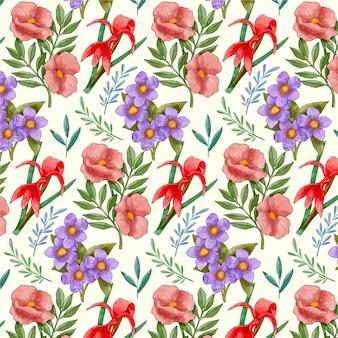 손으로 그린 수채화 꽃 패턴