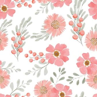 Ручная роспись акварелью цветочный повторяющийся узор в персиковом цвете
