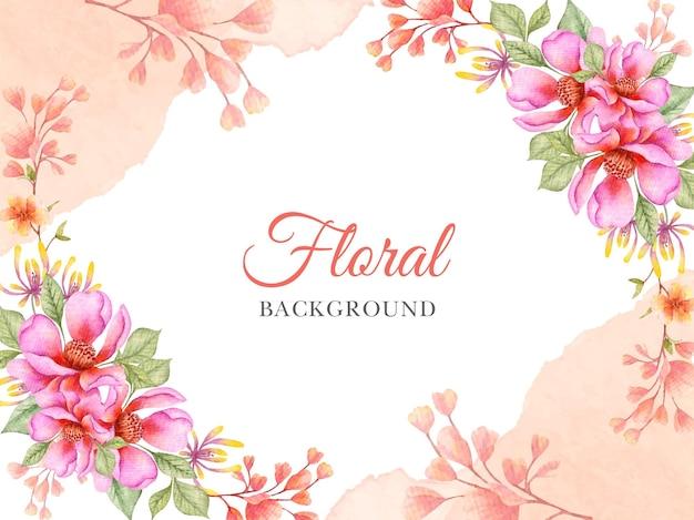 손으로 그린 수채화 꽃 봄