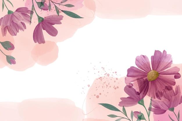 손으로 그린 수채화 꽃 벽지