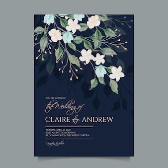 Ручная роспись акварелью цветочные свадебные приглашения шаблон