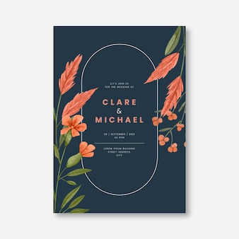 손으로 그린 수채화 꽃 결혼식 초대장 서식 파일