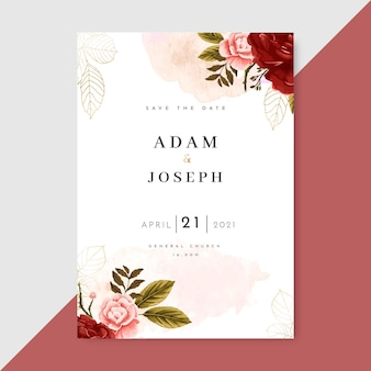 Hand painted watercolor floral wedding invitation template