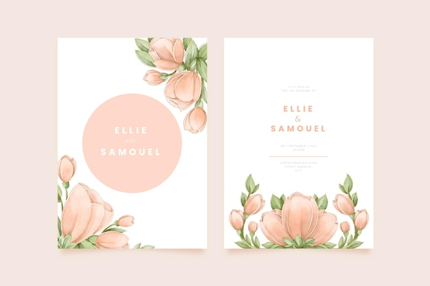 手描きの水彩花の結婚式の招待状のテンプレート
