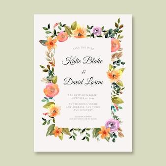Modello di invito a nozze floreale ad acquerello dipinto a mano