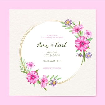 Hand painted watercolor floral wedding invitation template Free Vector