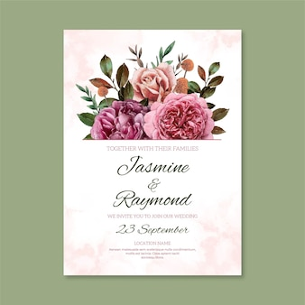 Invito a nozze floreale dell'acquerello dipinto a mano