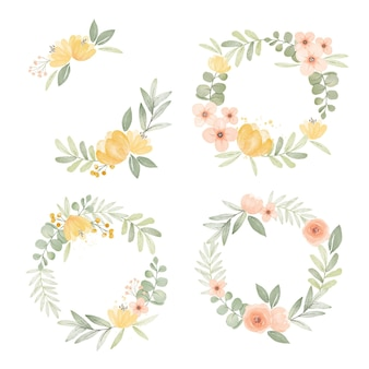 Hand painted watercolor floral wreath collection