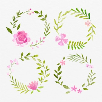 Hand painted watercolor floral wreaths collection