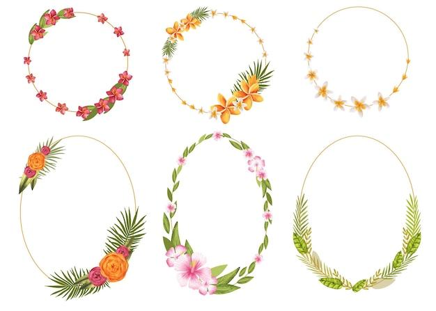 Ручная роспись акварелью коллекция цветочных венков