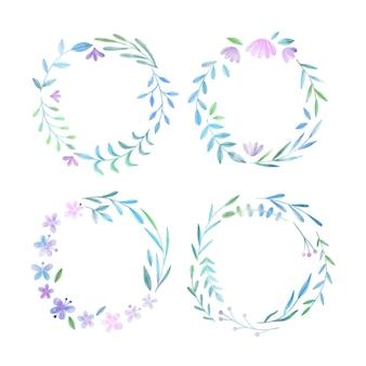 手描きの水彩花の花輪コレクション