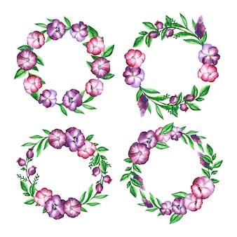 손으로 그린 수채화 꽃 화환 컬렉션