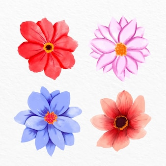 손으로 그린 수채화 꽃 모음