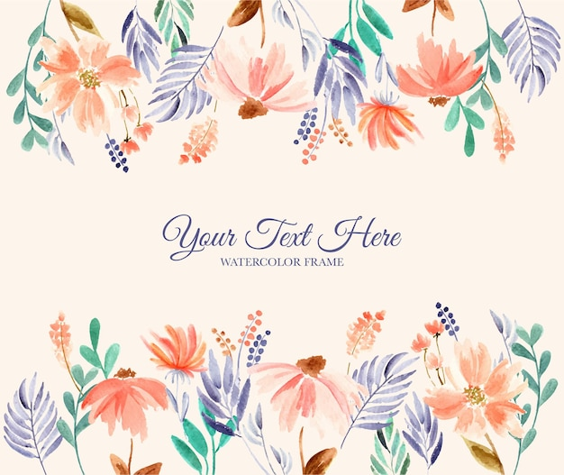 Hand painted watercolor of flower frame background