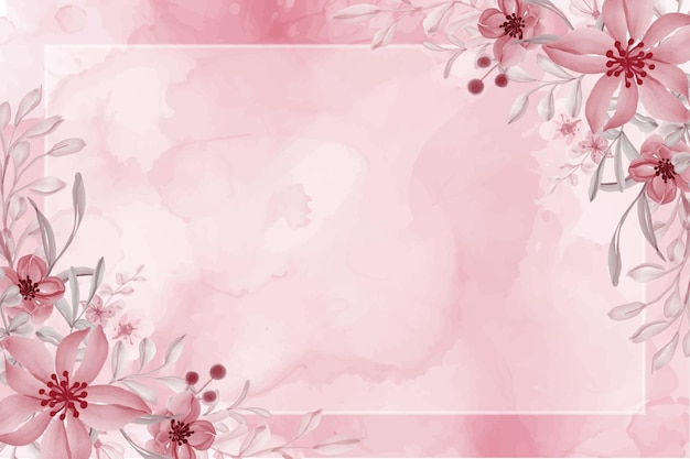 Hand painted watercolor flower pink background