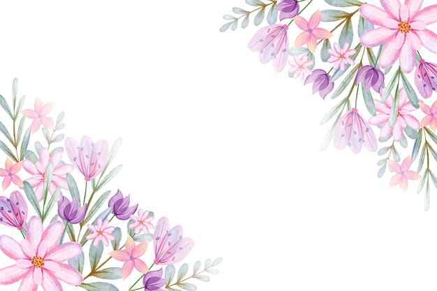 Hand painted watercolor flowers background