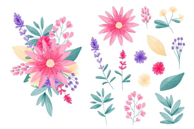 손으로 그린 수채화 꽃 요소 컬렉션