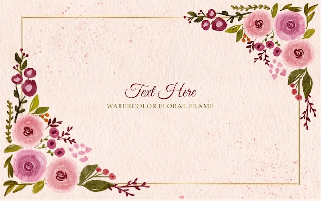 Hand painted watercolor flowers frame border background