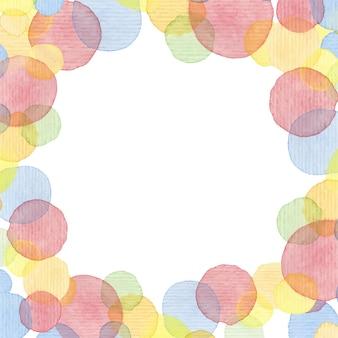 손으로 그린 수채화 프레임. 다채로운 서클 배경입니다. 블루, 레드, 오렌지, 옐로우 색상. 결혼식이나 베이비 샤워 초대장, 생일 카드, 스크랩북을 위한 빈티지 템플릿입니다. 벡터 일러스트 레이 션.