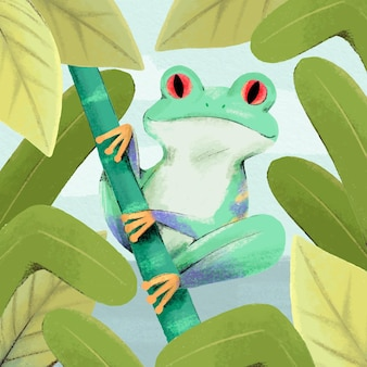 Ручная роспись акварель лягушка иллюстрация