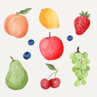 손으로 그린 수채화 과일 컬렉션