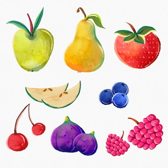 Hand painted watercolor fruit collection