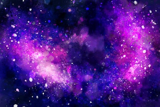 손으로 그린 수채화 은하 배경