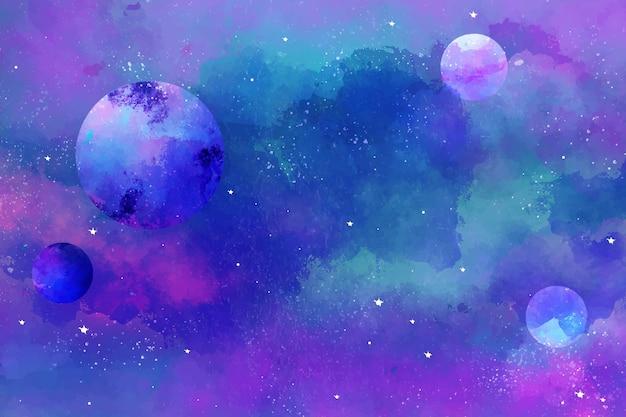 手描きの水彩銀河の背景 無料ベクター
