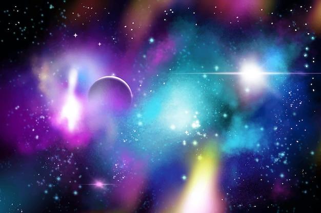 手描きの水彩画の銀河の背景