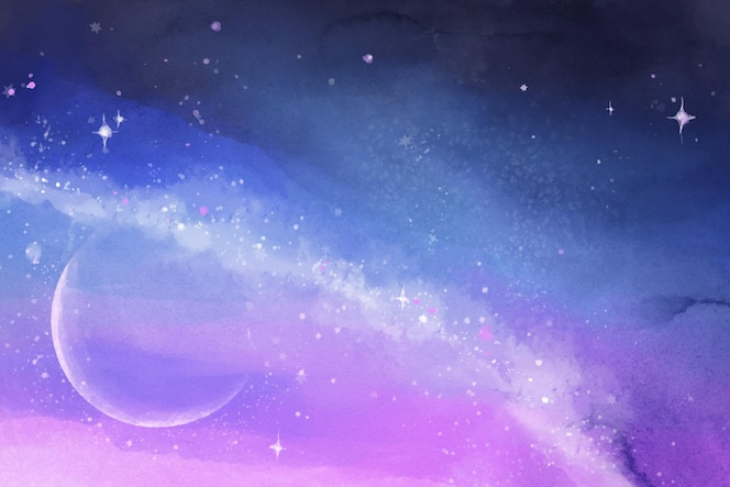 手描きの水彩銀河の背景